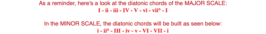 As a reminder, here's a look at the diatonic chords of the MAJOR SCALE: I - ii - iii - IV - V - vi - vii° - I In the MINOR SCALE, the diatonic chords will be built as seen below: i - ii° - III - iv - v - VI - VII - i